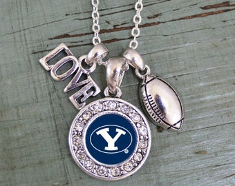 BYU Cougars 3 Charm Football Necklace