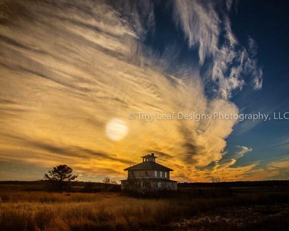 Plum Island MA Pink House Sunset Original Photography and Canvas