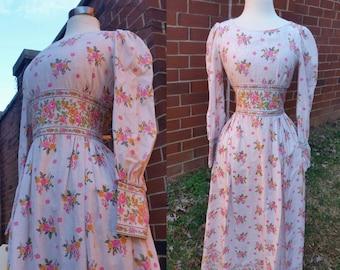 70s Prairie Dress Floral Linen Maxi xs/s