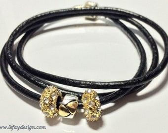 European Style, Leather Wrap Bracelet,Bead bracelet, large hole bead bracelet, European Style Bracelet, European Bracelet, Leather Jewelry