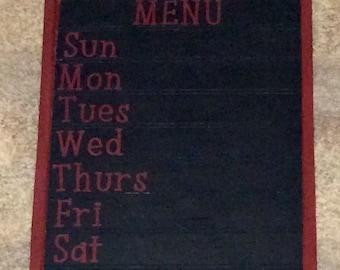 Weekly menu chalkboard