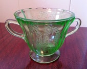 Green Parrot Federal Depression Glass - Sugar Dish