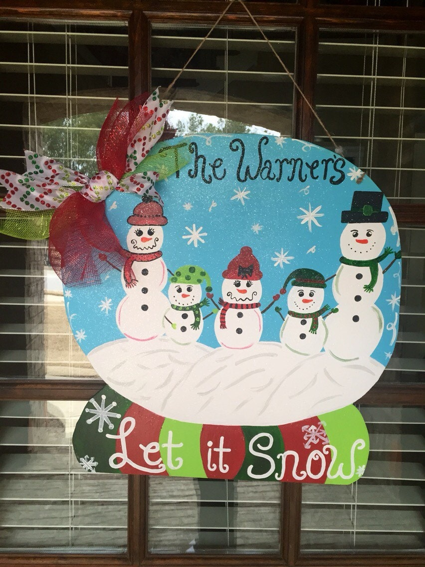 Christmas Door Decorating Ideas Snow Globe : Winter door hanger let it snow christmas