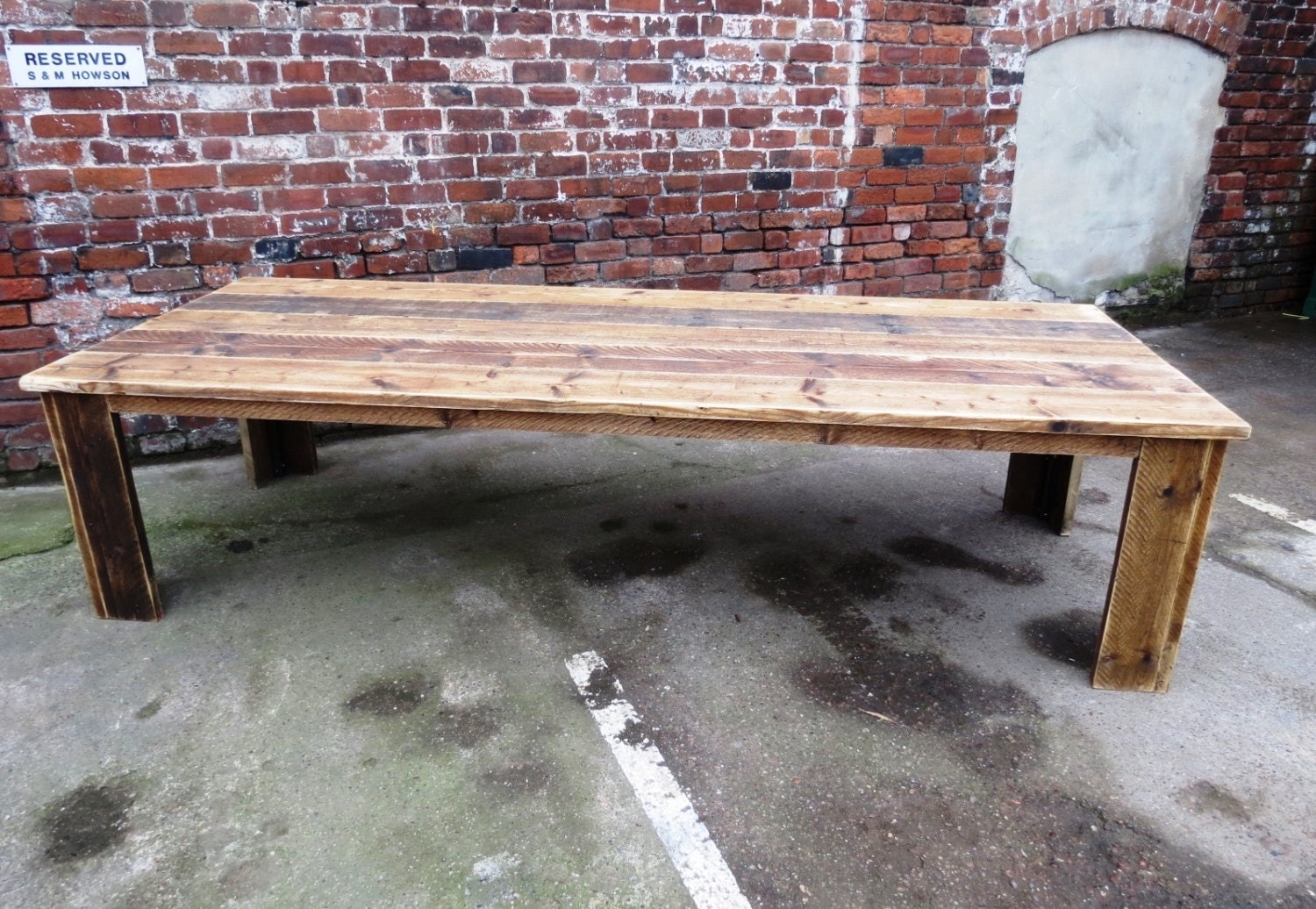 Reclaimed industrial chic 10 12 seater solid wood dining table for 12 seater wooden dining table