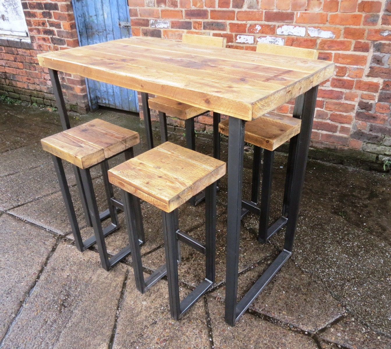 reclaimed industrial 4 seater chic tall poseur table only wood. Black Bedroom Furniture Sets. Home Design Ideas