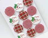 "1"" Wood Christmas Holiday  Buttons - Package of 12"