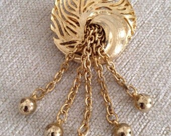 Vintage Gold Tone Brooch - 1980's - Free Shipping