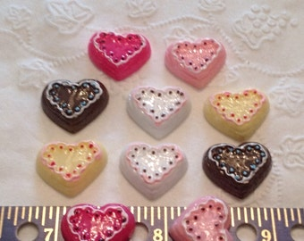 10 Hearts, Resin Flatbacks, Cabochons; for crafting, scrapbooking, bow making, etc.