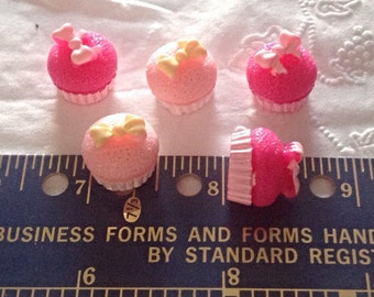10 Resin 3-D Cupcakes, Cabochons; for crafting, scrapbooking, bow making, phone deco, etc.