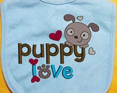 Puppy Love Bib, Puppy baby bib, Valentine Baby Bib, custom baby bib, infant baby bib, girl bib, boy bib, cotton baby bib, embroidered bib