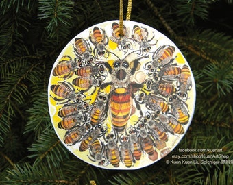 Honey Bee Ball Christmas Greeting Card Ornament Apiary Queen