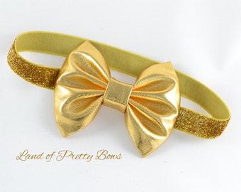 Gold Baby Headband Baby Hair Bow Gold Hair Bow Gold Headband Golden Hair Bow Baby Girl Hair Bow