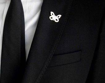 Groom's boutonniere, tie tack, groom's pin, gentleman brooch, butterfly boutonniere, suit pin, minimalistic lapel pin, wedding boutonniere