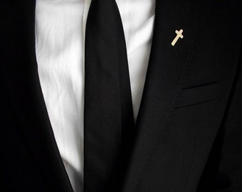 Groom's boutonniere, tie tack, groom's pin, gentleman brooch, men accessories, suit pin, minimalistic lapel pin, wedding cross boutonniere