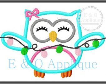 Christmas Embroidery Design - Christmas Owl Applique - Holiday Owl Applique - Owl Applique Design - Owl Embroidery Design - Christmas Lights