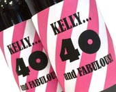 40 and Fabulous! Birthday Mini Wine Bottle Labels for wine themed Adult Birthday Party Favors - custom mini wine labels - 50 and Fabulous!