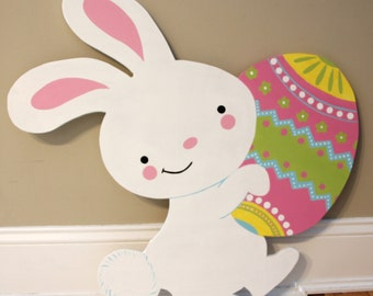 Easter Bunny Outdoor Wood Lawn Decoration
