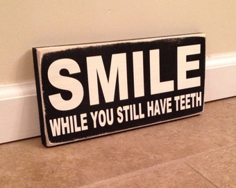 Smile! sign  - wood wall art