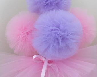 Mason jar,Candy Dish Tutu and 5 tulle pompom centerpiece,Ballerina Party Decoration,princess Party Centerpiece,baby shower,tutu table