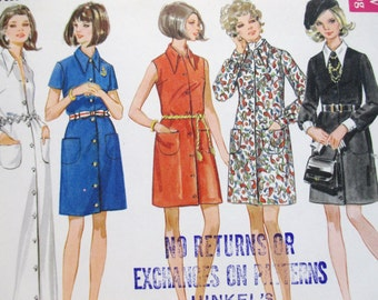 Butterick 5427 ~ Front Button Loose Shirtdress / 60's One-Piece Mini or Maxi Dress with Pointed Collar SIZE 10 UNCUT Sewing Pattern