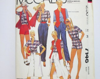 McCall's 7146 ~ Retro Wardrobe Separates ~ Misses Shirt, Vest, Skirt,  Pants or Shorts ~ Size 10 UNCUT 1980 Sewing Pattern