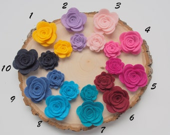 Felt Flower Embellishment - Flower Applique - Felt Posies - 6 pieces