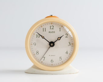 Vintage Alarm Clock - Ivory Alarm Clock - Beige Clock - Vintage soviet alarm clock Kuco - Table Clock - Made in USSR - Working
