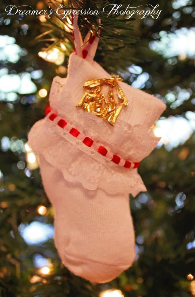 Away In The Manger Sock Ornament; Handmade Christmas Ornament; Baby Sock Ornament