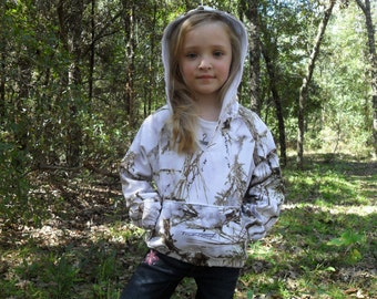 Light weight hoodies.TTMc2 White Snow fabric (Shown in pic). #13 in fabric selection  Sizes from NB to size 10. 22 camo colors available