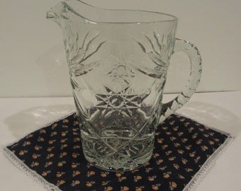 Glass Pitcher EAPG Early American Prescut Star of David Pattern 60 ounces