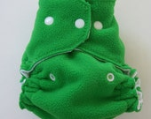 CLEARANCE! Medium Front Snapping Fleece Diaper Cover in Green & White