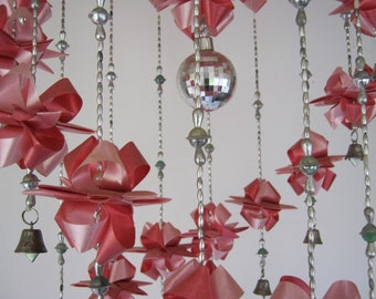 Ribbon Mobile - Ribbon Chandelier - Pajaki Style - Hangs from the Ceiling - Folk Art at its Best