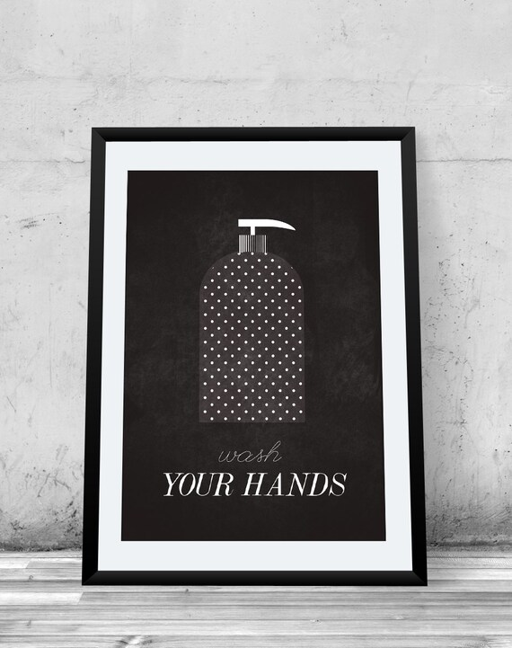 Wash your hands Bathroom Rules Bathroom Poster giclee art