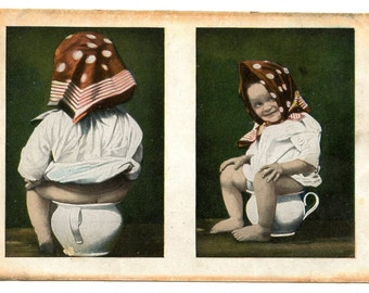 1900s Cheeky Baby on Potty Postcard Antique Vintage
