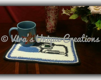 Crochet cotton Seahawks placemat or hot pad, crochet placemat, crochet hot pads, crochet seahawks, placemat, hot pads, made-to-order