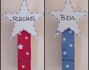 Jumbo pegs, large wooden personalised peg. Great for organisation, bills or to-do lists or displaying your child's/ grandchild's artwork