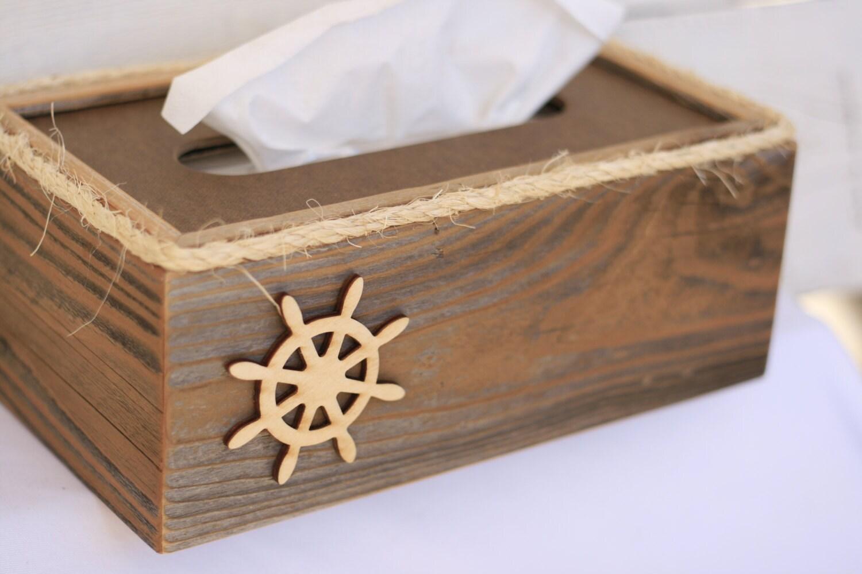Tissue kleenex box cover captains wheel nautical beach ocean - Beach themed tissue box cover ...