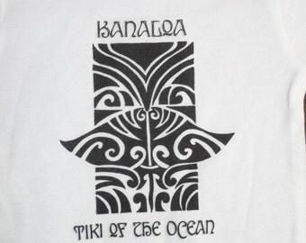 Baby Onesie with Hand Drawn Hawaiian Tiki Design on 100% Cotton