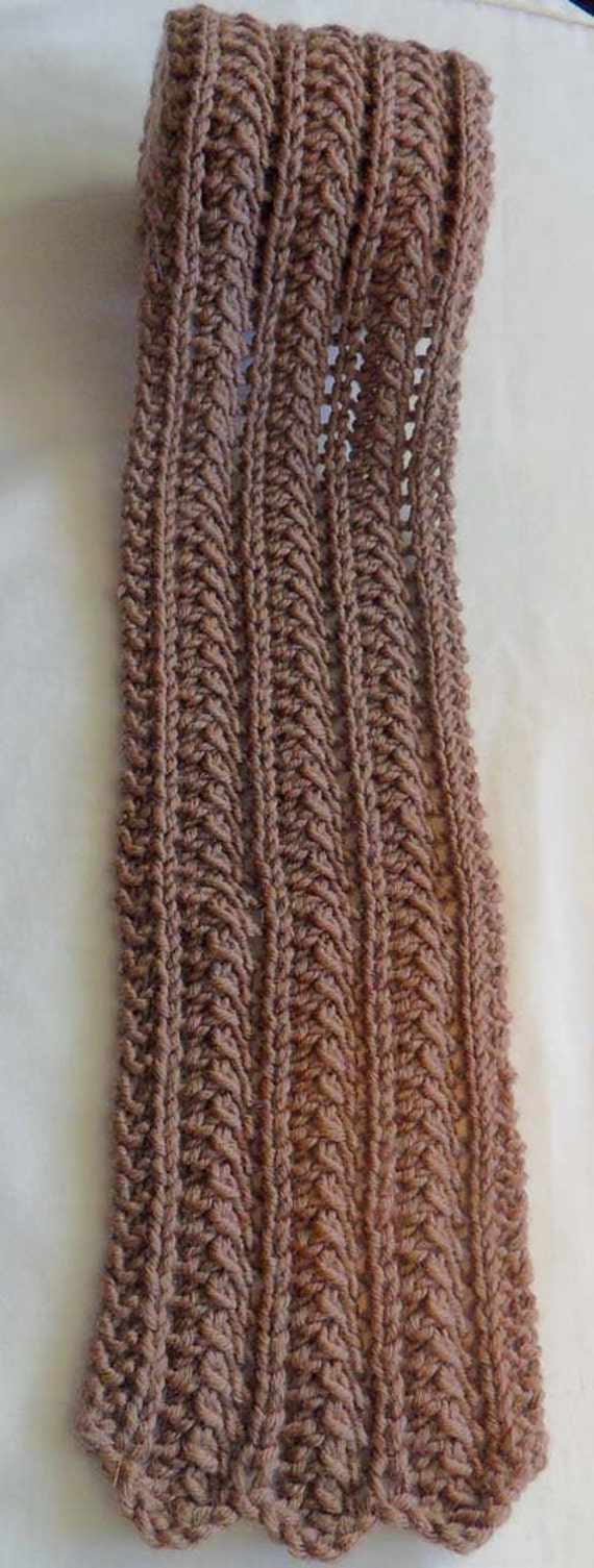 Beautiful Hand Knit Skinny Scarf with Lace Pattern by DeloneaKnits