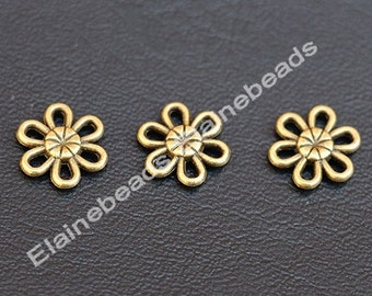 70PCS Flower Antique Bronze charms (double sided) 11mm Beads Charm Link Connector- antique bronze charm Pendant Connector Jewelry Finding
