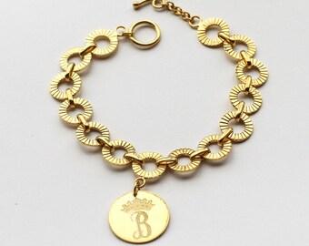 20% OFF Personalized Monogram Bracelet - Kate Middleton Monogrammed Bracelet Replica - Solid Sterling Silver - Charm Bracelet - JB14