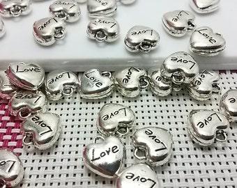 25  pcs Tibetan Silver Tone Heart Charms  Heart Pendant