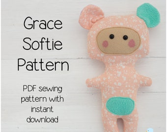 Grace PDF Softie Sewing Pattern & Tutorial Style Instructions (with Instant Download)