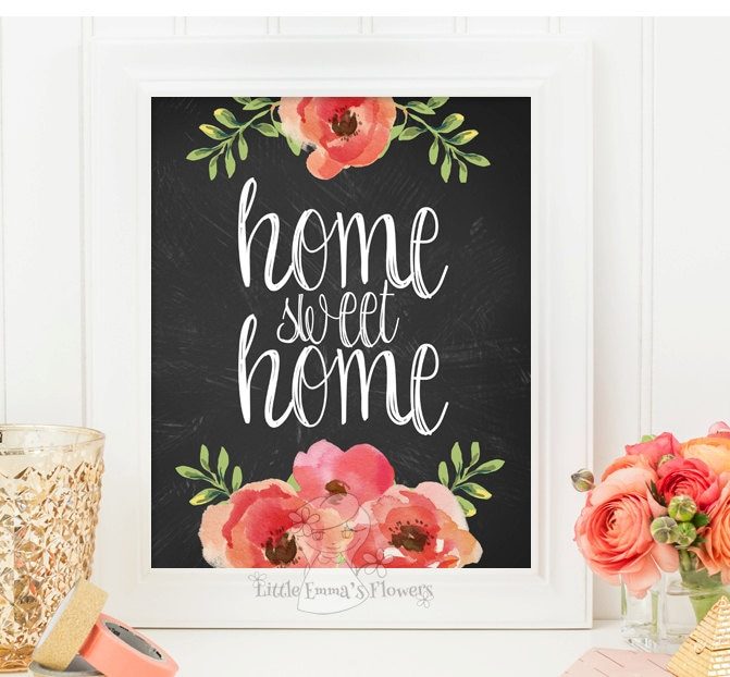 Wall Art For Home Entrance : Home sweet print entrance wall art welcome decor
