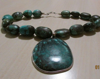 Large Turquoise Pendant and Beads Necklace