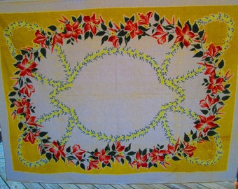 52x66 100% Printed Cotton Vintage Tablecloth Reds Yellows and Grey Beautiful Floral