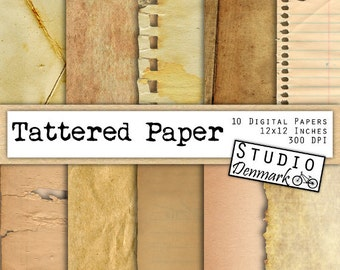 "Old Paper Digital Pack - ""Tattered Paper"" Aged / Antique / Distressed / Ripped / Crumpled / Tea Stained  - Commercial Use - Instant Download"