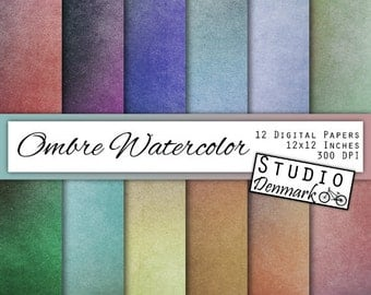 Ombre Watercolor Digital Paper - Colorful Vignette / Gradient Paper - Aged Paper Grunge Paper Texture - Commercial Use - Instant Download