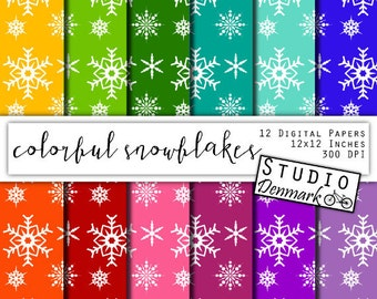 Colorful Snowflakes Digital Paper - Christmas Snowflakes / Snow Frozen Winter Backgrounds - Red / Blue / Purple / Green - Instant Download