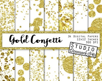Gold Confetti Digital Paper - Layered Gold Confetti / Glitter Confetti - Commercial Use New Years Backgrounds - Instant Download